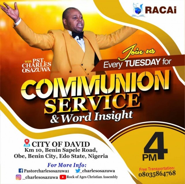 Worship with us this Tuesday @ City of David for our Communion service